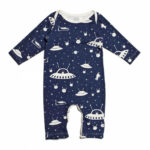 Long Sleeve Romper Outer Space Midnight Blue, 10 % Bio Bio Kleidung Baby