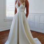 Simple White Satin Long Prom Dress, White Evening Dress Ivory Weißes Abendkleid