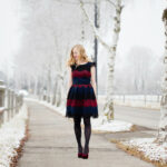 This Year's Christmas Outfit / Mint & Berry Dress Velvet Pumps Freizeitkleid