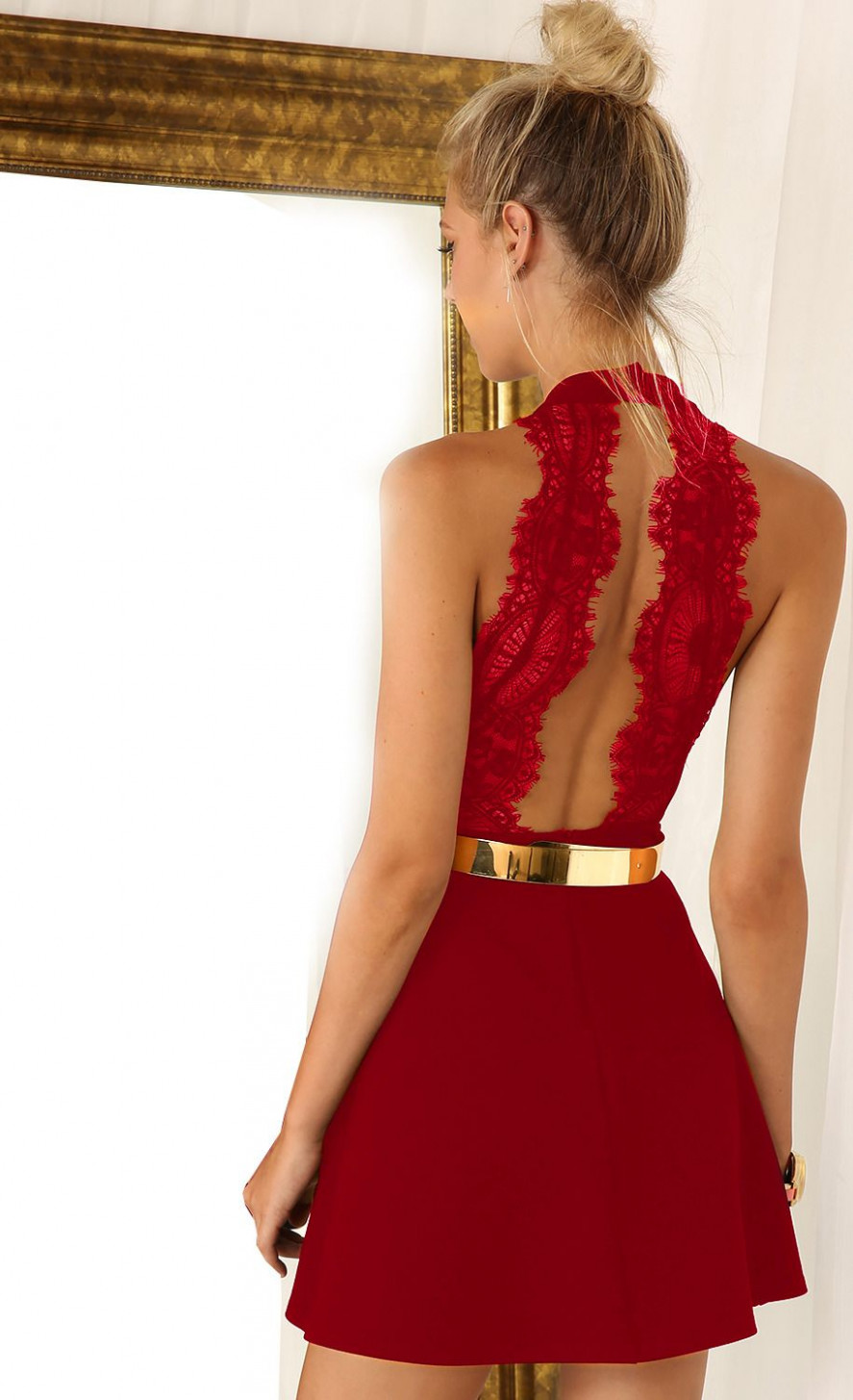 wine red sleeveless with lace backless dress sheinside