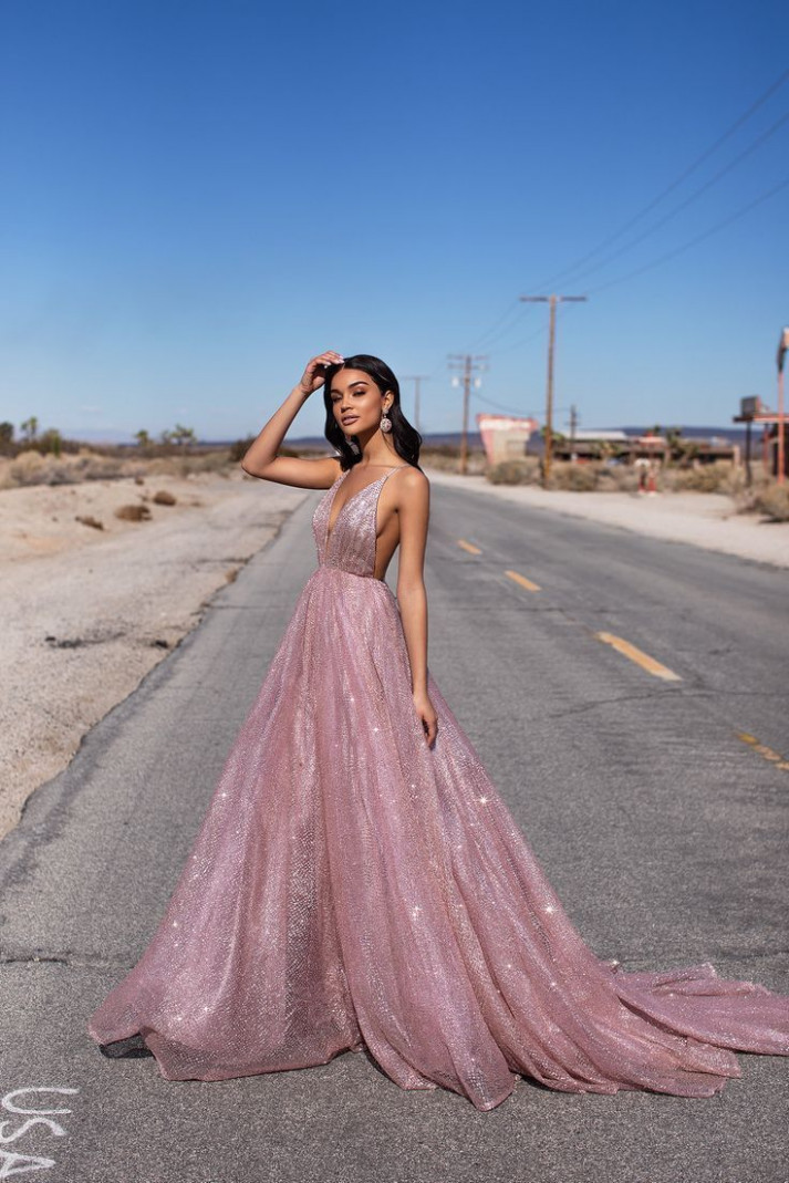 a&n luxe electra glitter gown rose gold #electra #glitter rosegold kleid