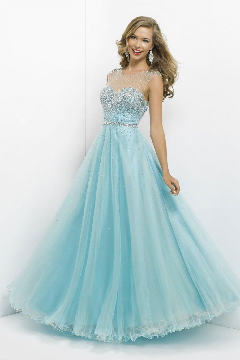 a line long tulle bateau keyhole back natural waist prom dress hellblaue kleider