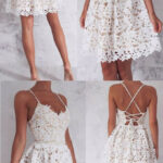 A Line Spaghetti Straps Homecoming Dress,lace Up White Lace Short Spaghetti Kleid