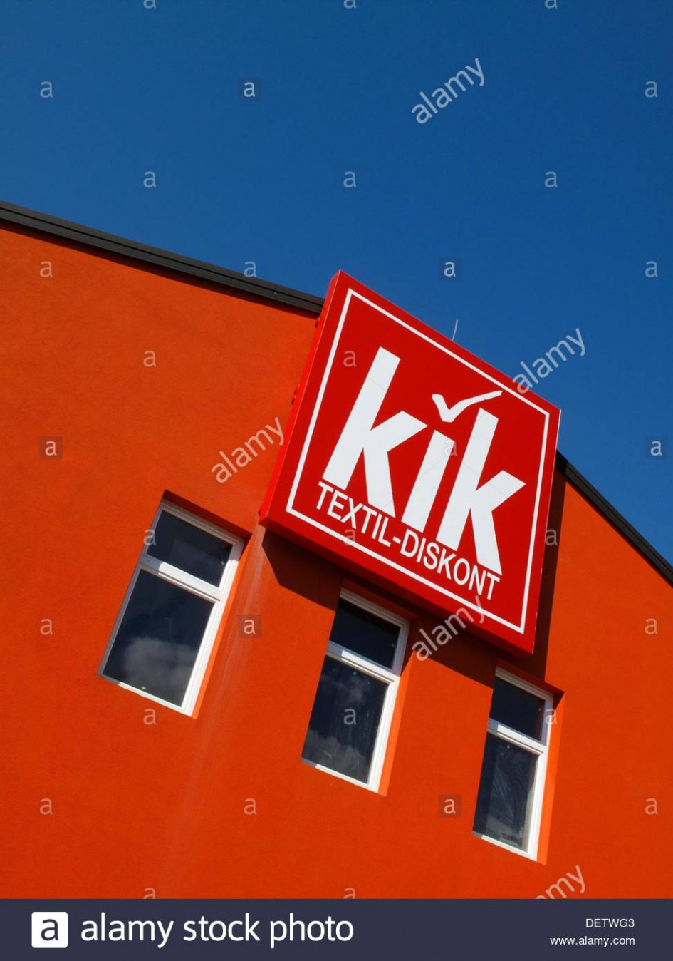 A sign for a Kik discount clothing store in Slovenia Stock Photo