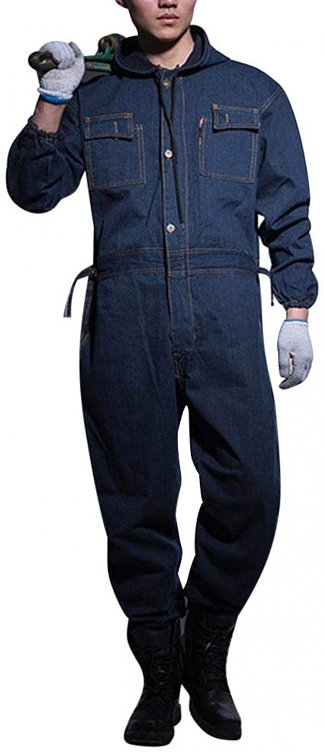 AOWOFS Herren Jeans Jumpsuit Lang mit Kapuze Arbeitsoverall