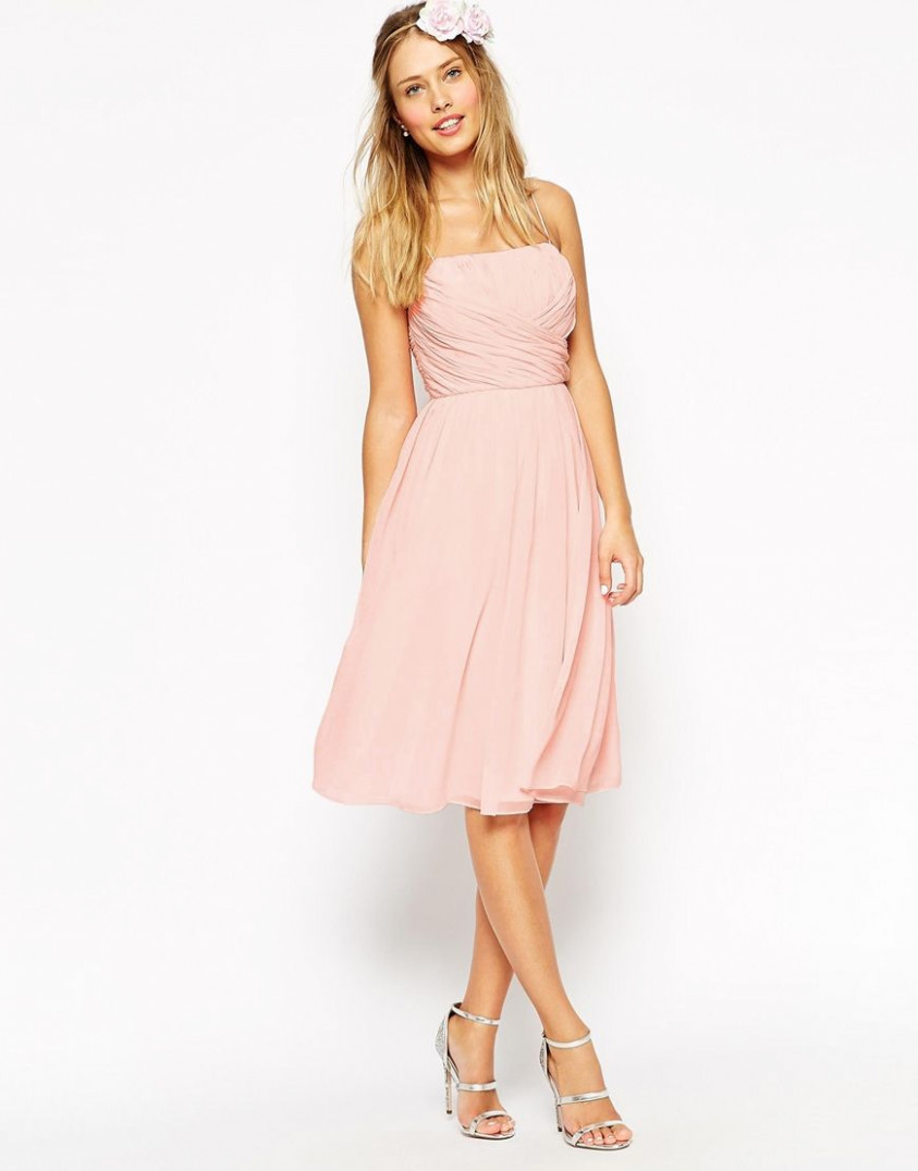asos wedding midi dress with ruched wrap front at asos