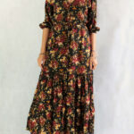 Boho Chic Midi Dress Black Floral Hippie Dress Weltentänzer Berlin Kleid Geblümt