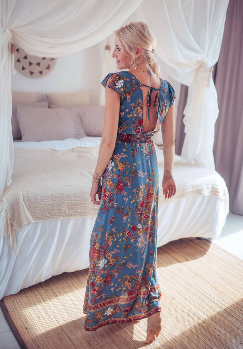 boho summer dress long to wrap with a summery floral pattern sommerkleid boho