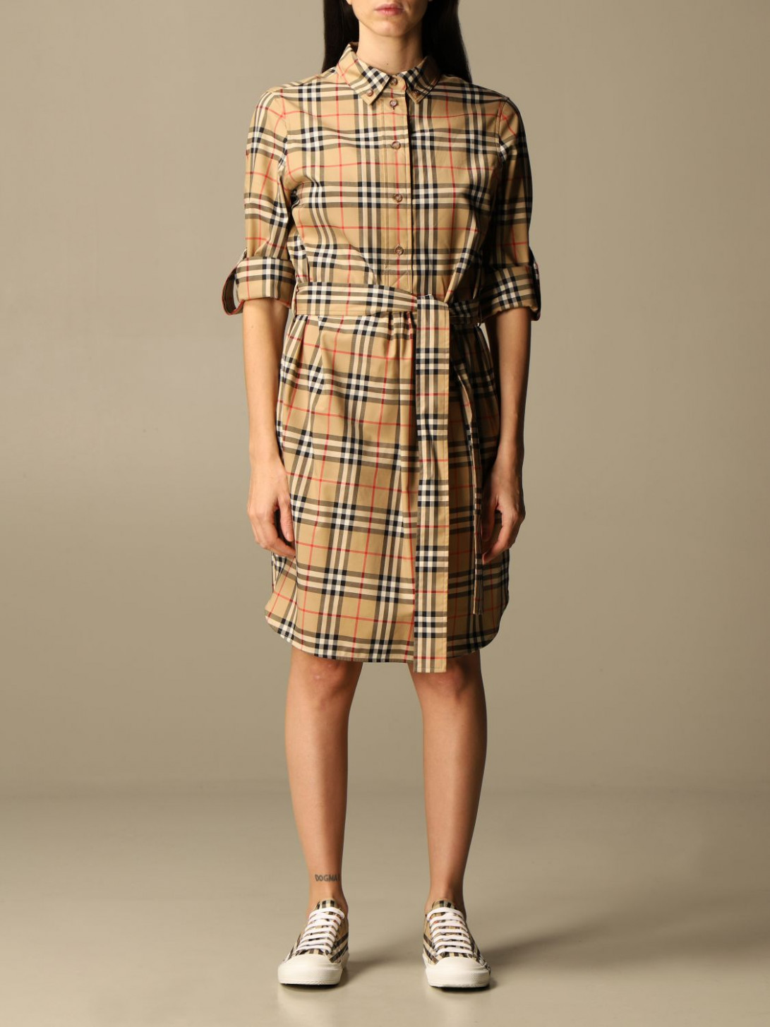 burberry shirt dress in stretch cotton with vintage check pattern burberry kleid
