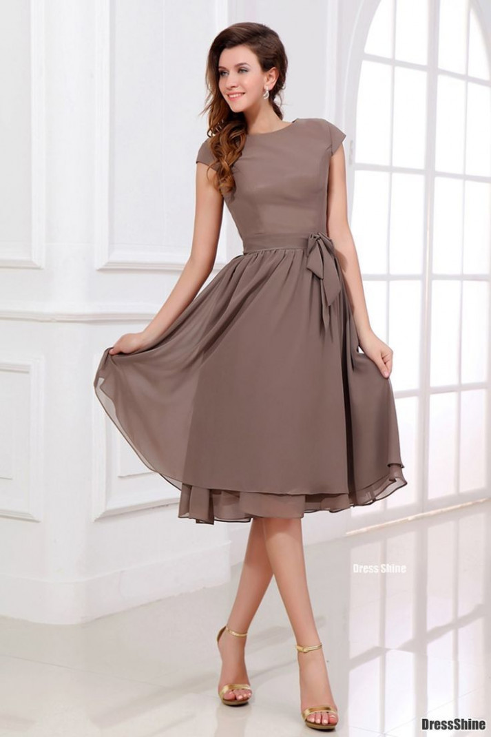 Chiffon Bateau with Short Sleeves Wedding Party Dress  Knee