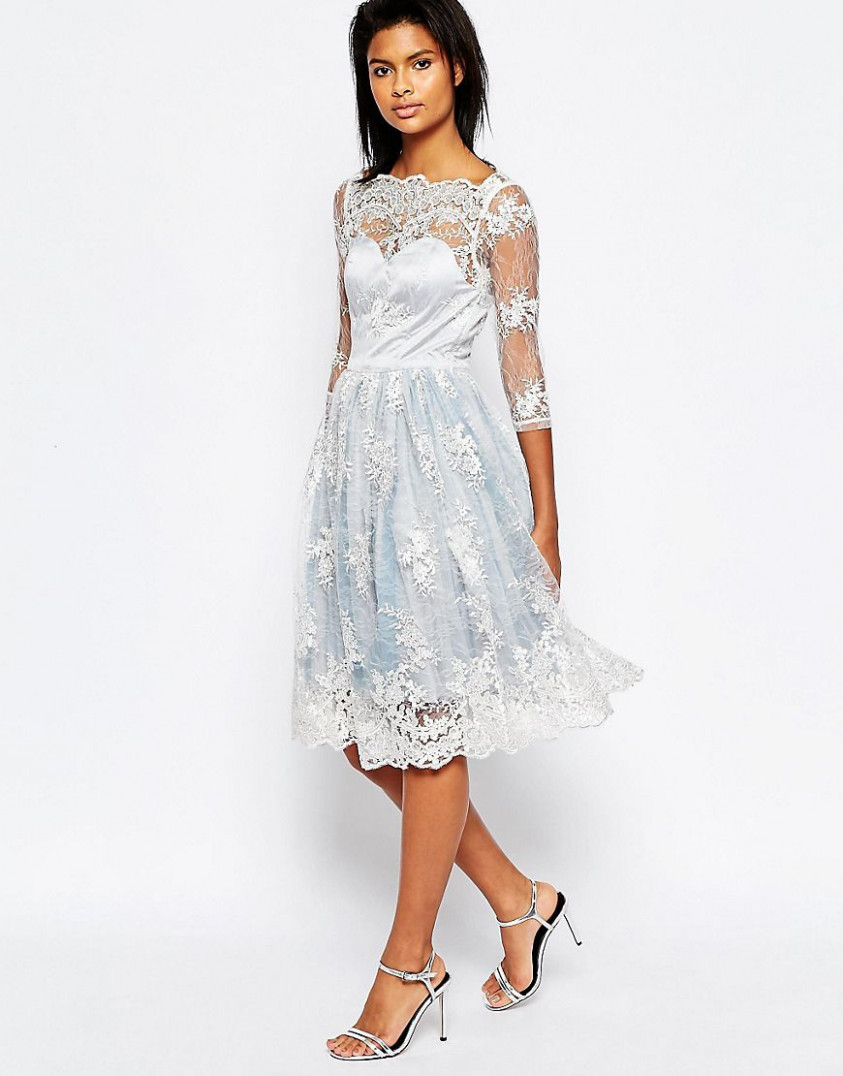 glamorous midi dress with lace overlay at asos