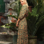 Green Midi Dress With Boho Flower Dress Hippie Autumn Dress Midi Kleider Sommer