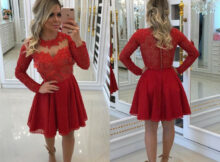 Großhandel Billig Kurz Eine Linie Spitze Applique Homecoming Dress Rot  Vintage Junioren Süß 9 Staffelung Cocktail Party Kleid Plus Größe