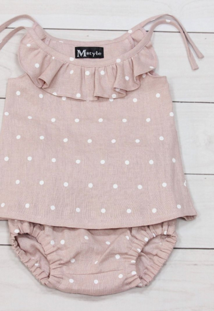 handmade polkadot linen baby top & bloomers mstyleclothing on baby sommerkleidung