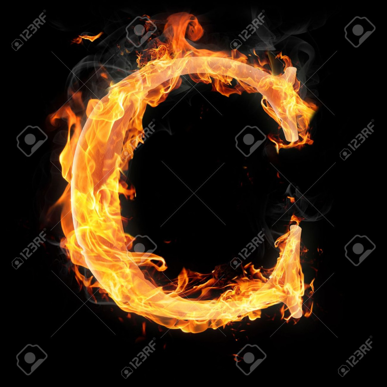 letters and symbols in fire letter c