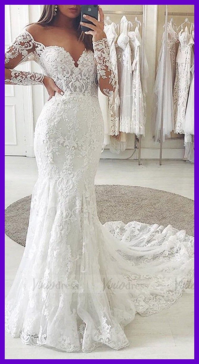 long sleeve mermaid lace boho wedding dresses bridaldress weddings mermaid hochzeitskleid