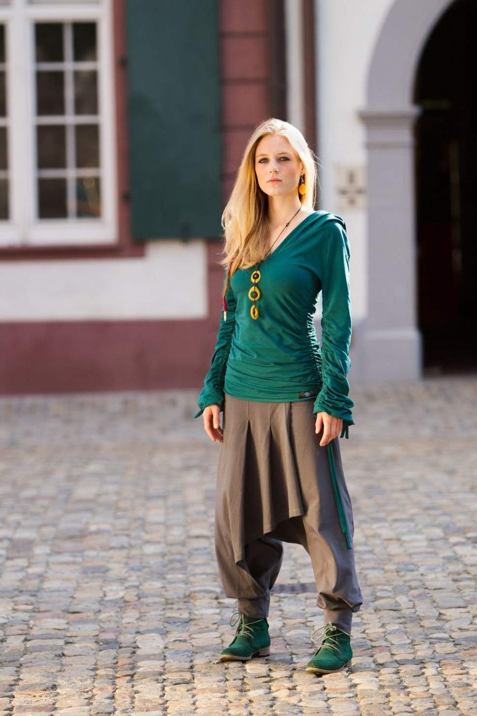 malva trousers with attached skirt part in the front