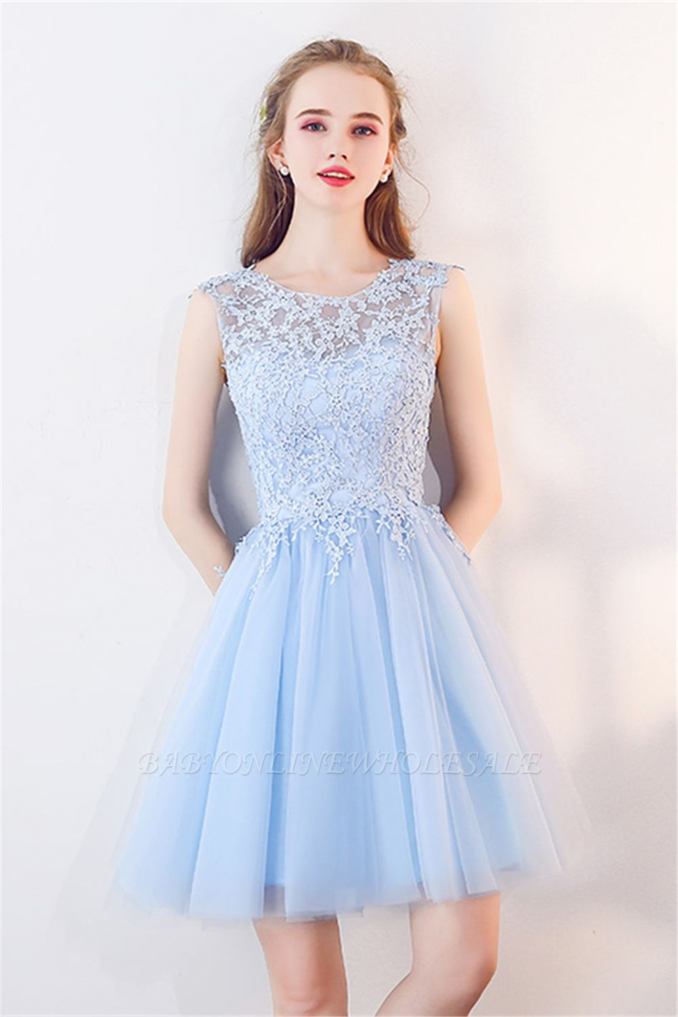marcia a line sleeveless short appliqued top tulle homecoming hellblaue kleider
