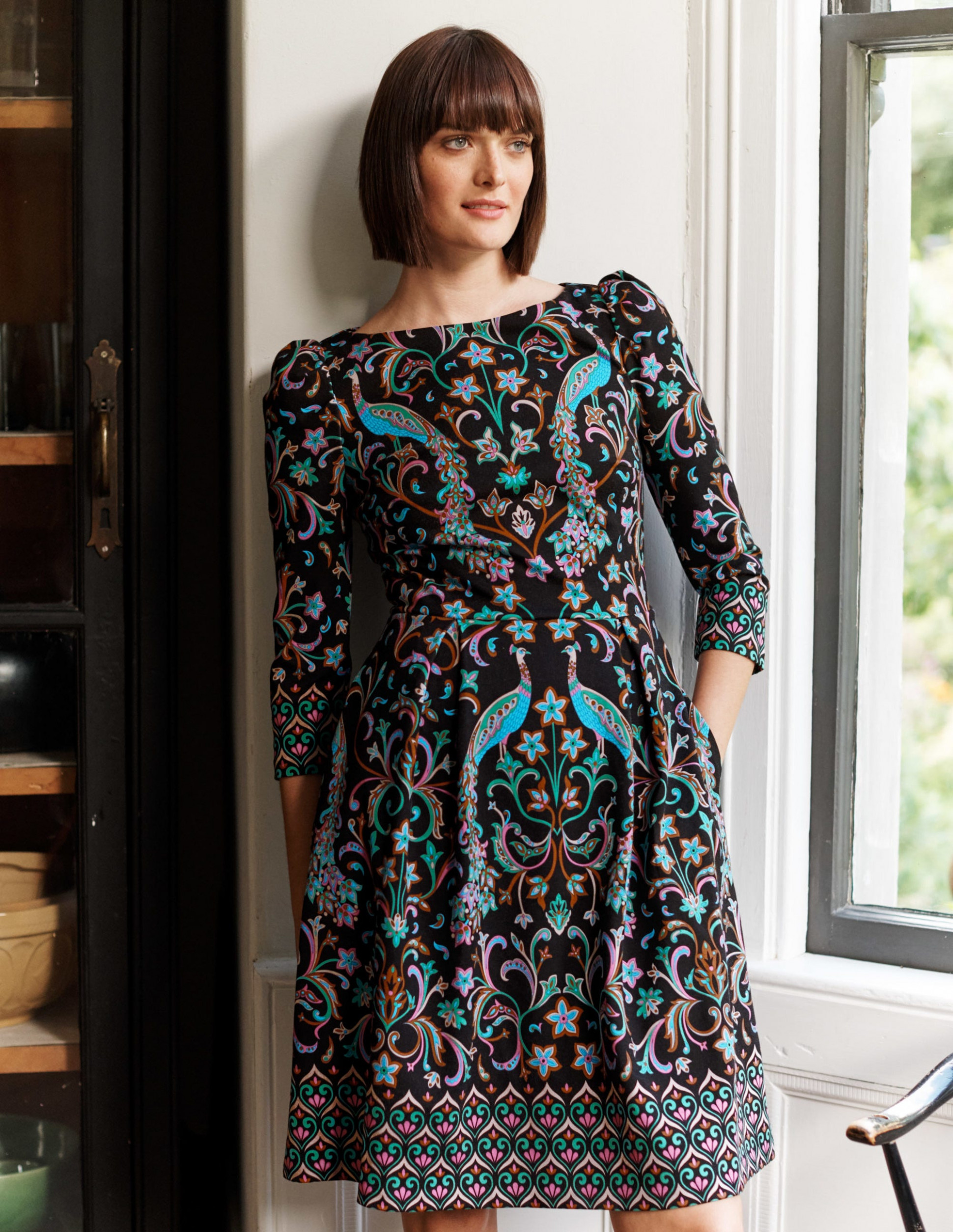 marie ponte dress black, fanciful peacock boden us kleid boden