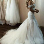 Off The Shoulder Mermaid Tulle Wedding Dresses Lace Appliques Mermaid Hochzeitskleid