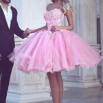 Pink Ball Gown Appliues Sweetheart Neck Short Homecoming Dresses Pinke Kleider