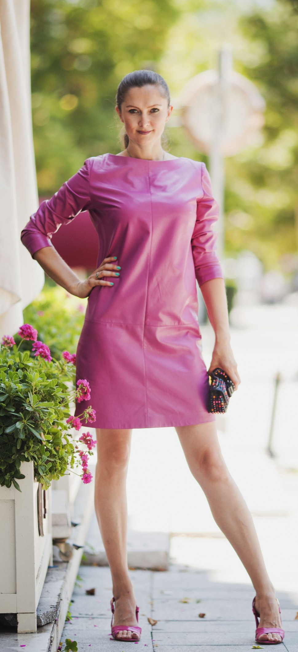 Pink leather dress by ADAMOFUR #inspiration #leather #leatherdress