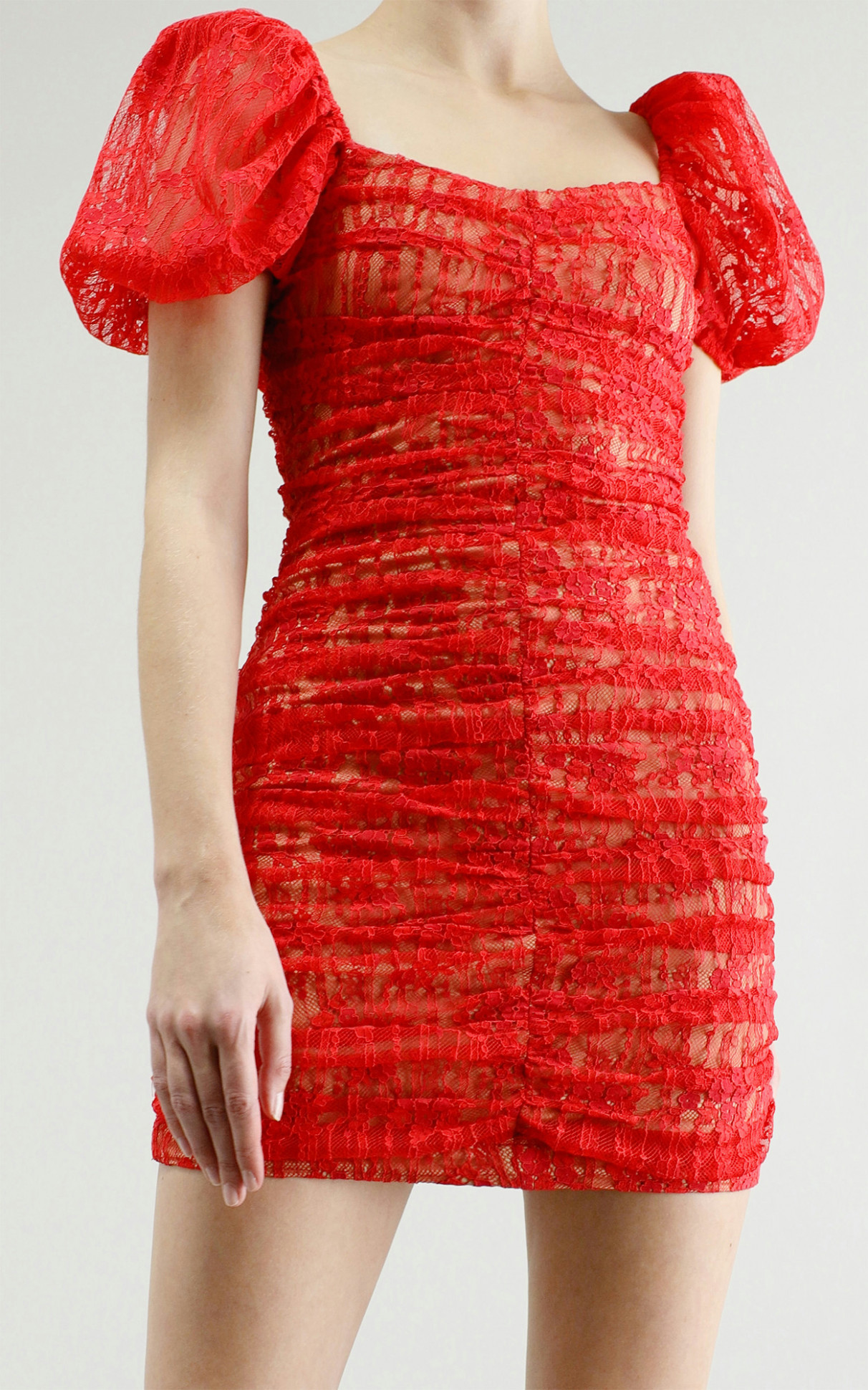 ruched lace dress in red spitzenkleid rot