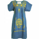 """Santa Lupita """"the Mommy´s Night Dress"""" In Blue With Golden Kleid Baumwolle"""