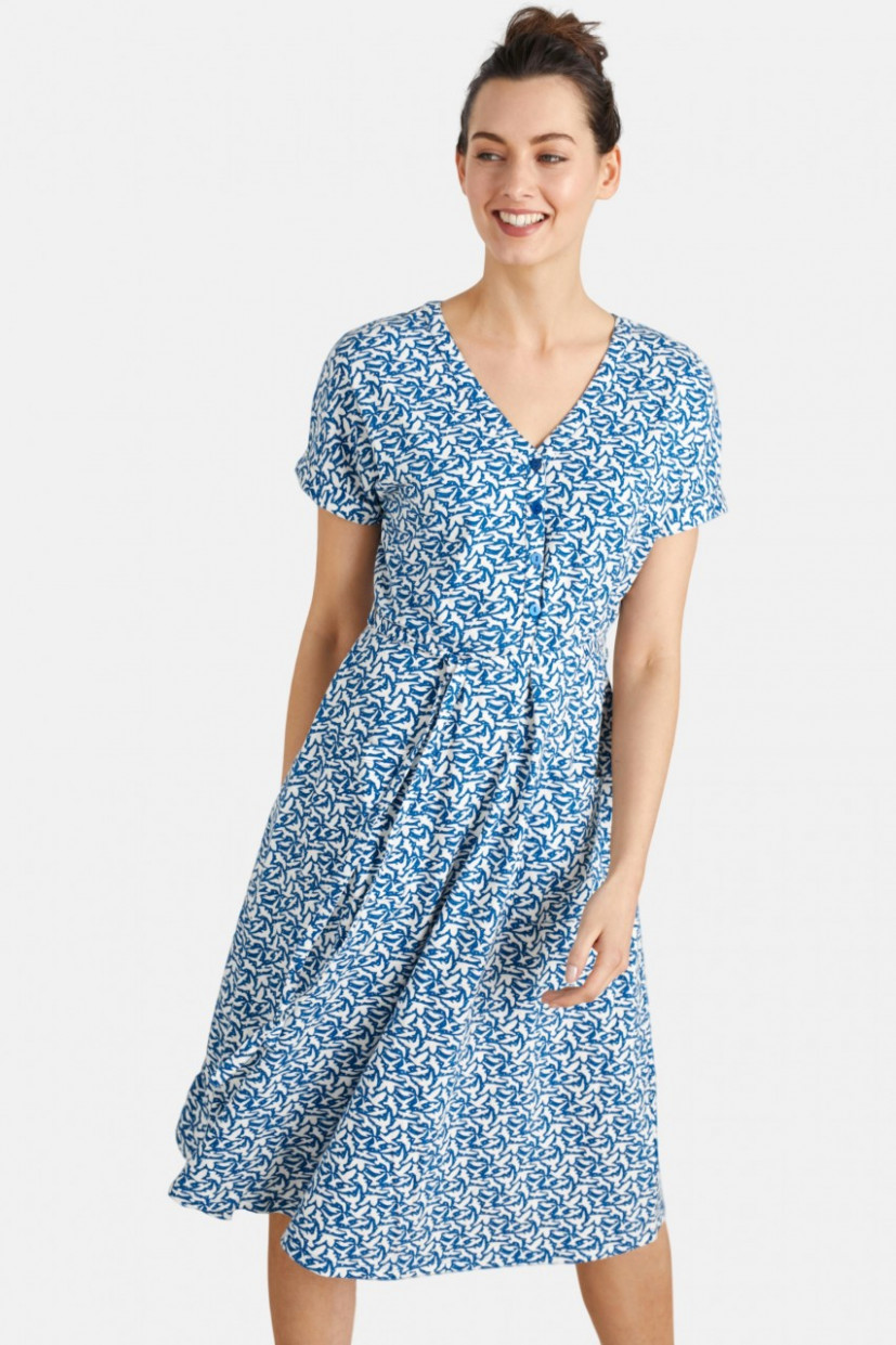 seasalt cornwall coastwatch dress birds damen kleid blau weiß vögel sommerkleid blau