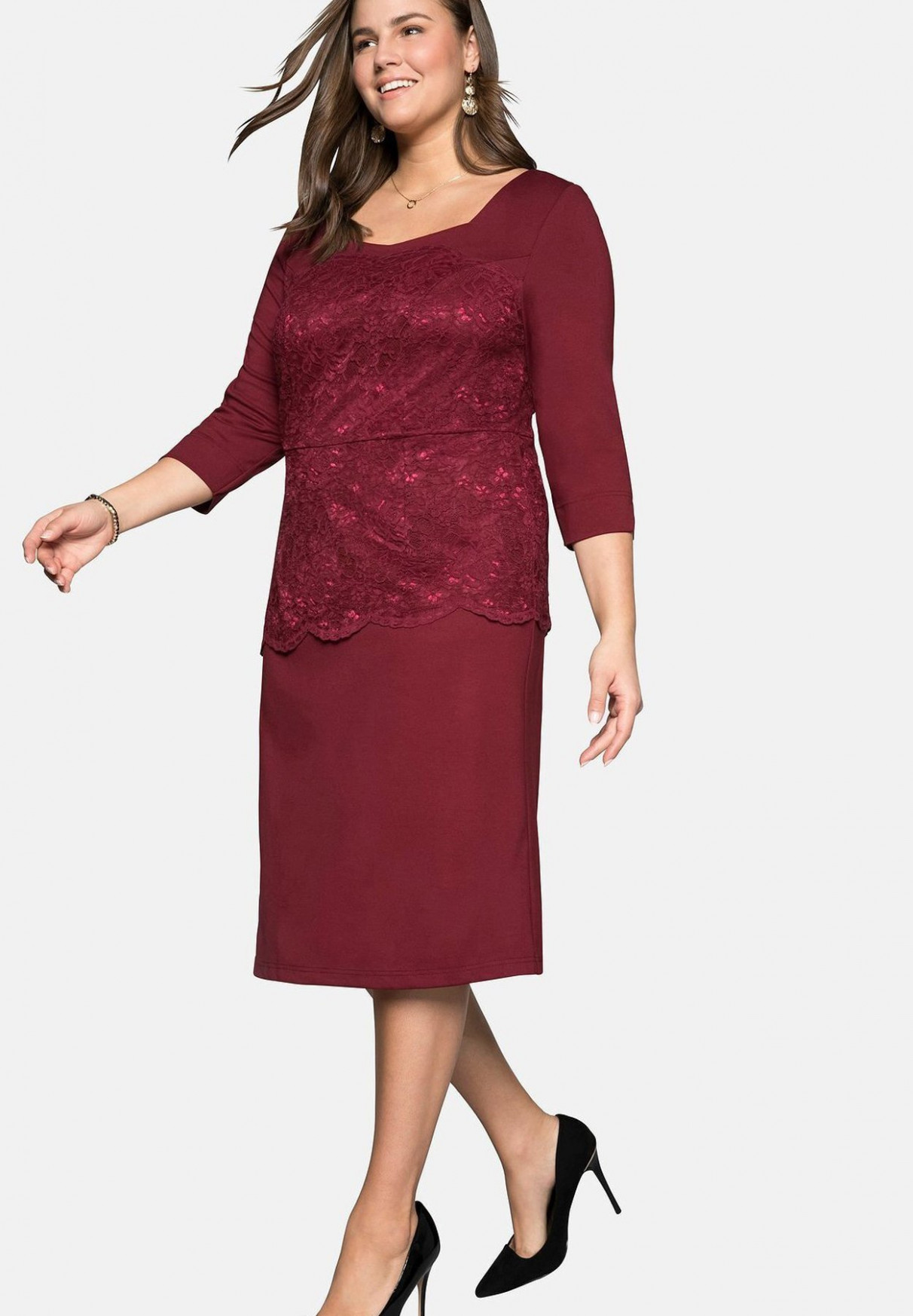 sheego cocktailkleid/festliches kleid rubinrot/bordeaux zalando