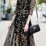 Sheer Cutout Embroidered Floral Midi Dress, Floral Embroidery Herbstkleider Midi