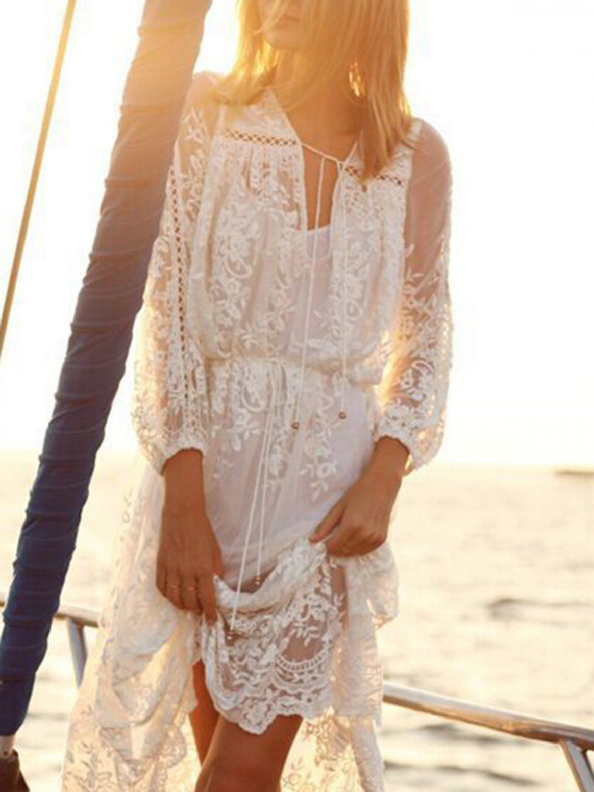 shop boho dress white solid swing basic lace boho dress online kleid spitze weiß