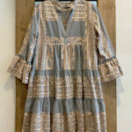 Short Embroidered Dress Grey/rose Gold Kori Kleid