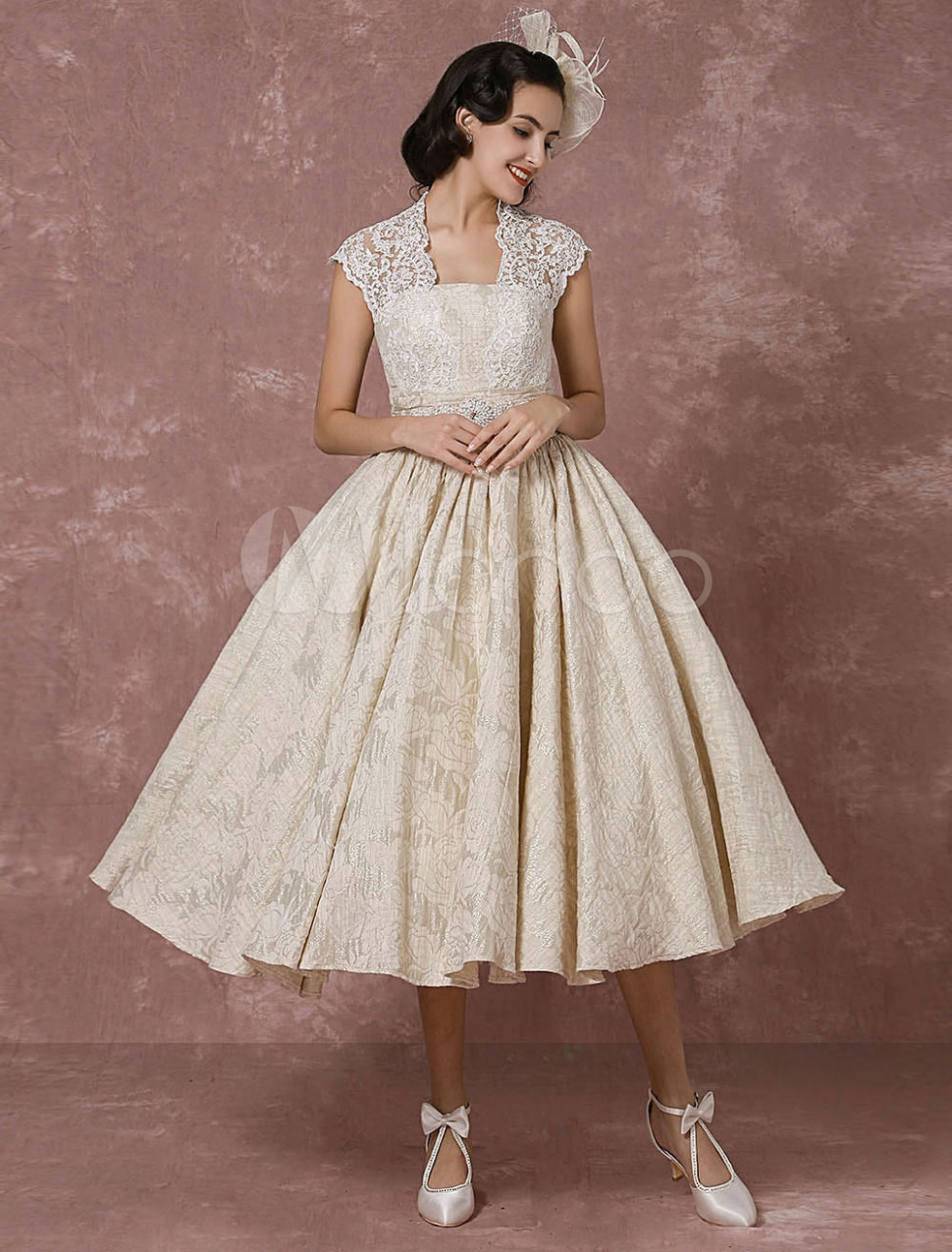 short wedding dress lace champagne vintage bridal dress ball gown beading backless tea length bridal gown with sash milanoo milanoo kleider