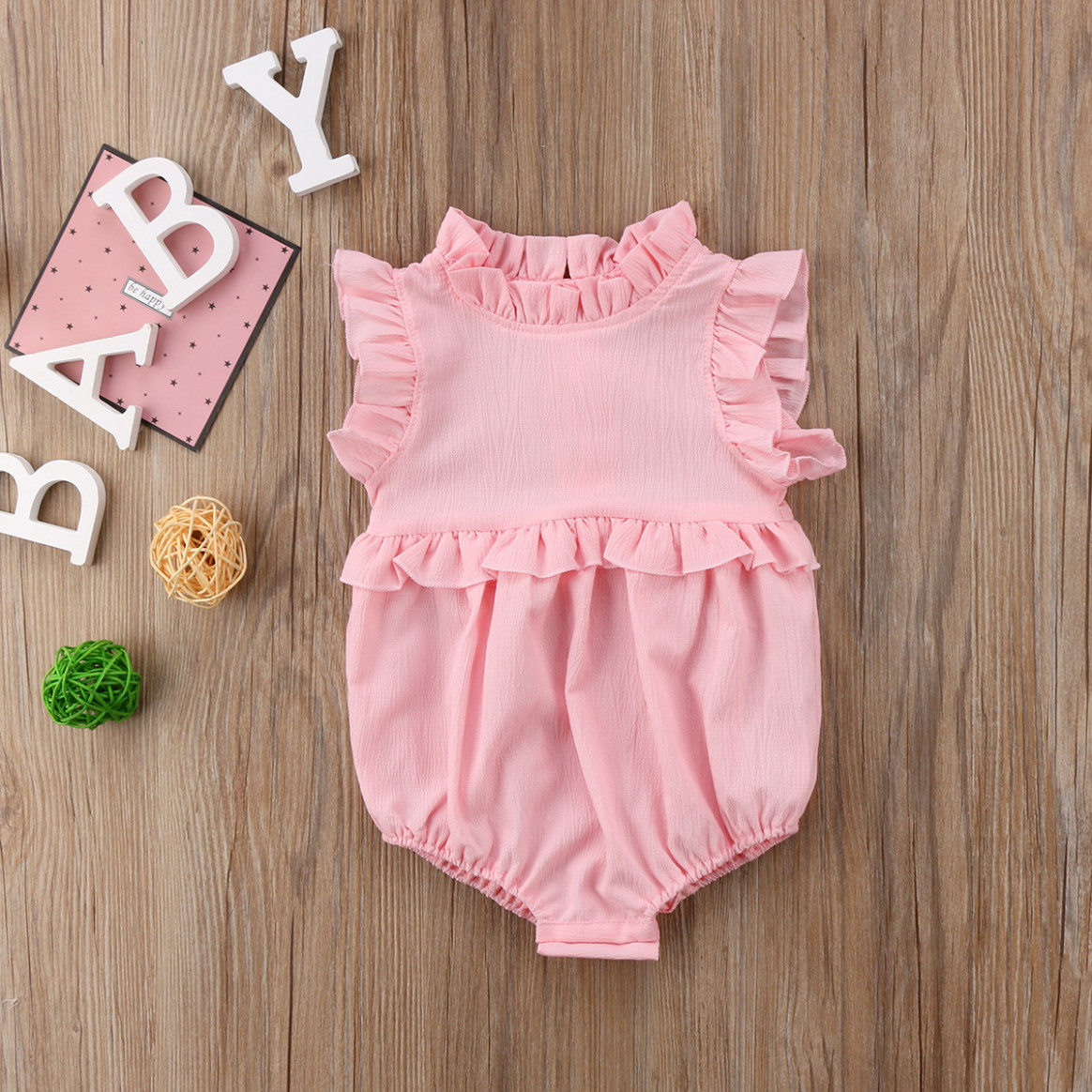 summer newborn infant baby girl ruffle solid romper bodysuit jumpsuit outfit clothes baby sommerkleidung