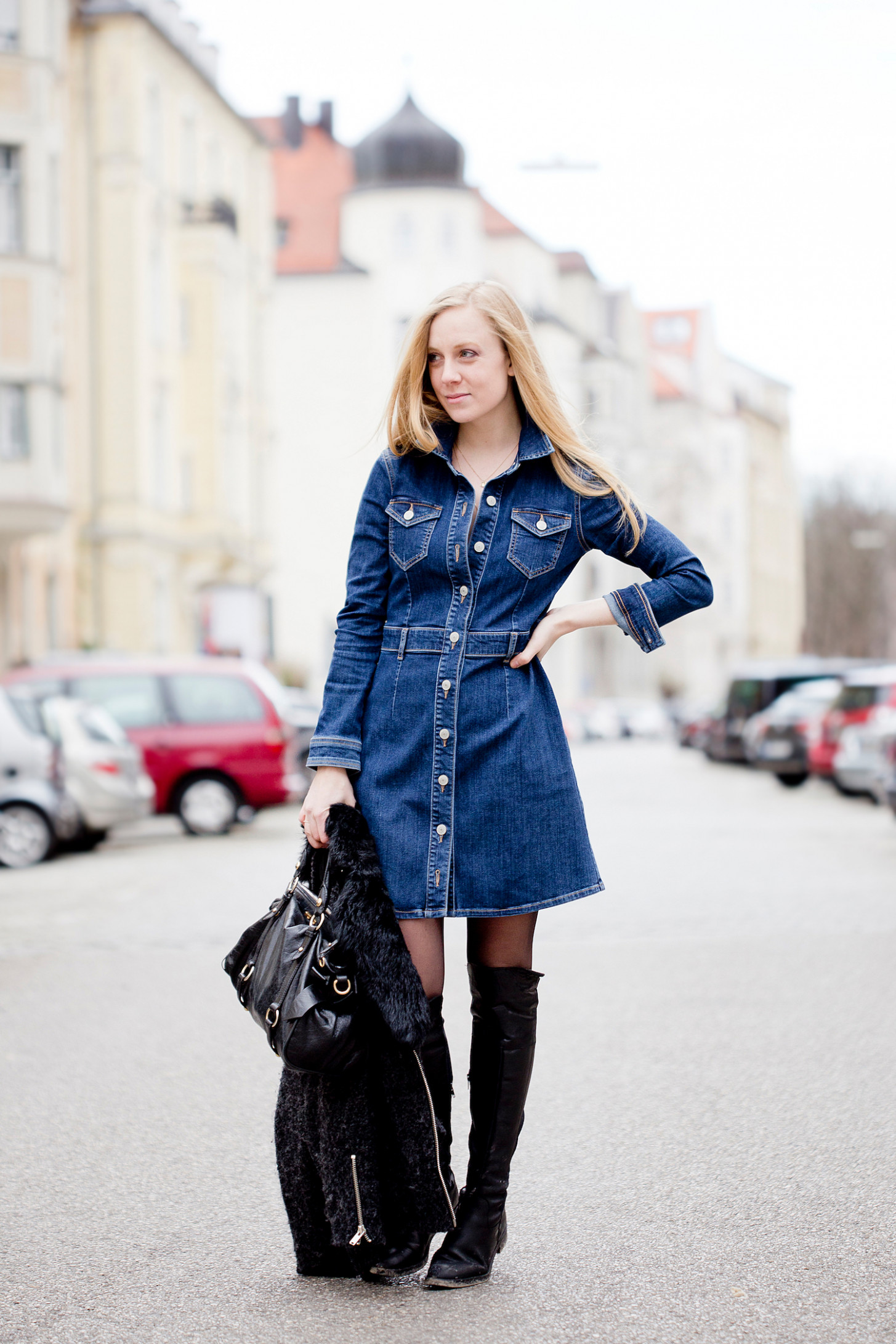 The denim dress and a styling problem - The Golden Bun