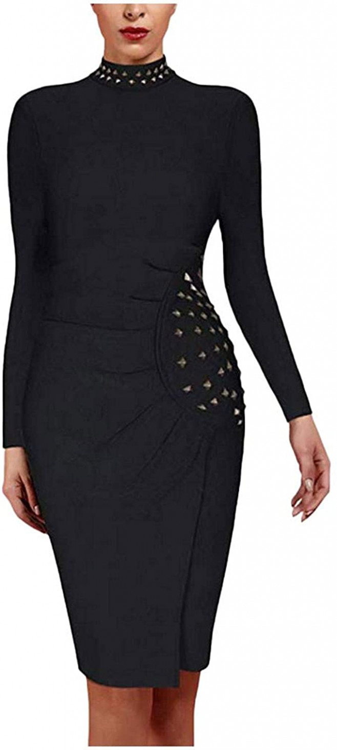 transwen cocktail party bodycon kleid damen stretch langarm kleid langarm kleider knielang