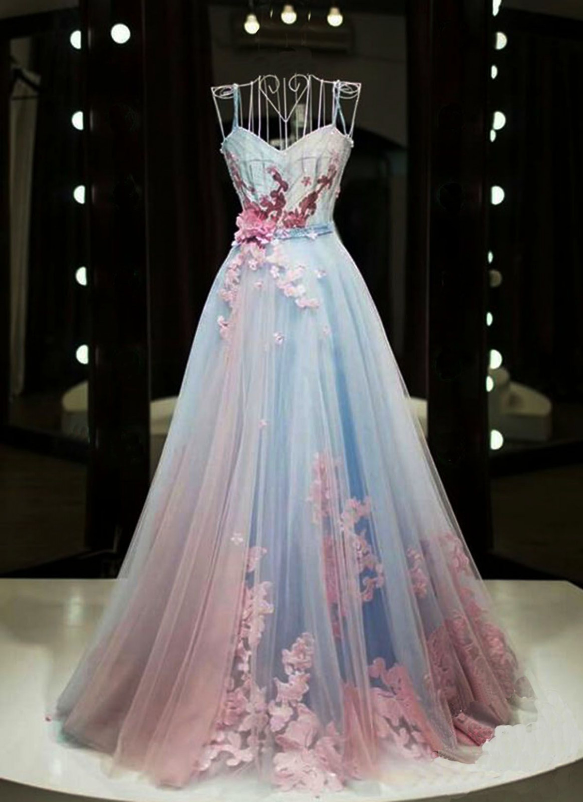 unique pink and blue tulle sweetheart long spaghetti straps senior unique kleid