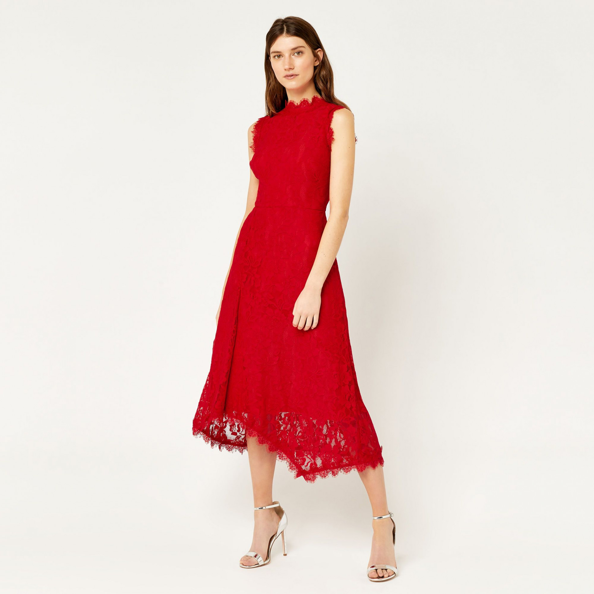 warehouse, lace midi dress bright red 12 warehouse kleidung