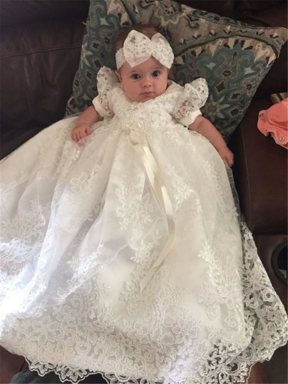white bow knot baptism dresses infant baby girl dress pageant kleid taufe