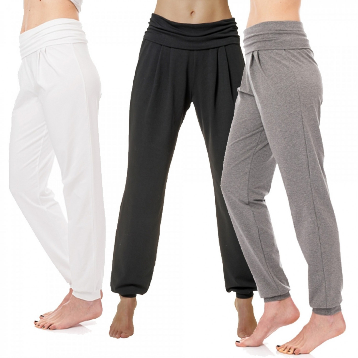 yoga pants in sarouel style, organic cotton yoga hosen